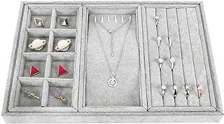 Schreibtisch Schrank Rot Halskette Lagerung Organizer Fall Ring Ohrring 3 F/ächer gossipboy Premium Abnehmbare gro/ßen Kapazit/ät Samt Schmuck Tray Holder Display f/ür Schublade