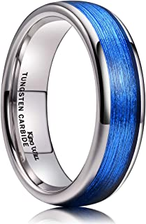 King Will Men`s 4mm/6mm/8mm Tungsten Carbide Ring Inlay Blue Silk Texture Paper Wedding Band Dome Style