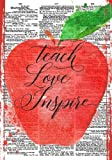Teach Love Inspire Notebook (7 x 10 Inches): A Ruled Notebook/Journal/Composition Book for Teachers with Modern Typography Cover (Teal/Aqua Cover) ... Thank You / End of Year Gifts and Presents)