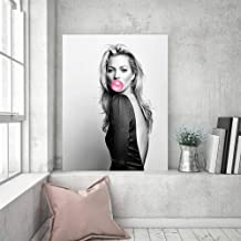 woplmh Moss Bubble Gum Wall Art Fashion Print Make Up Powder Room Celebridades Decoración de hogar en Blanco y Negro Pintura-40x60cmx1 / sin Marco