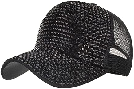 0f286c81c3e1b Botrong Women Rhinestone Hats Female Baseball Cap Bling Diamond Hat (Black)