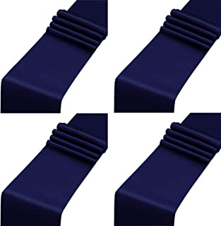 Aneco 4 Pack Satin Table Runner 12 x 108 Inch Long Bright Silk and Smooth Fabric Party Table Runner for Wedding Banquet Party Decoration- Navy Blue