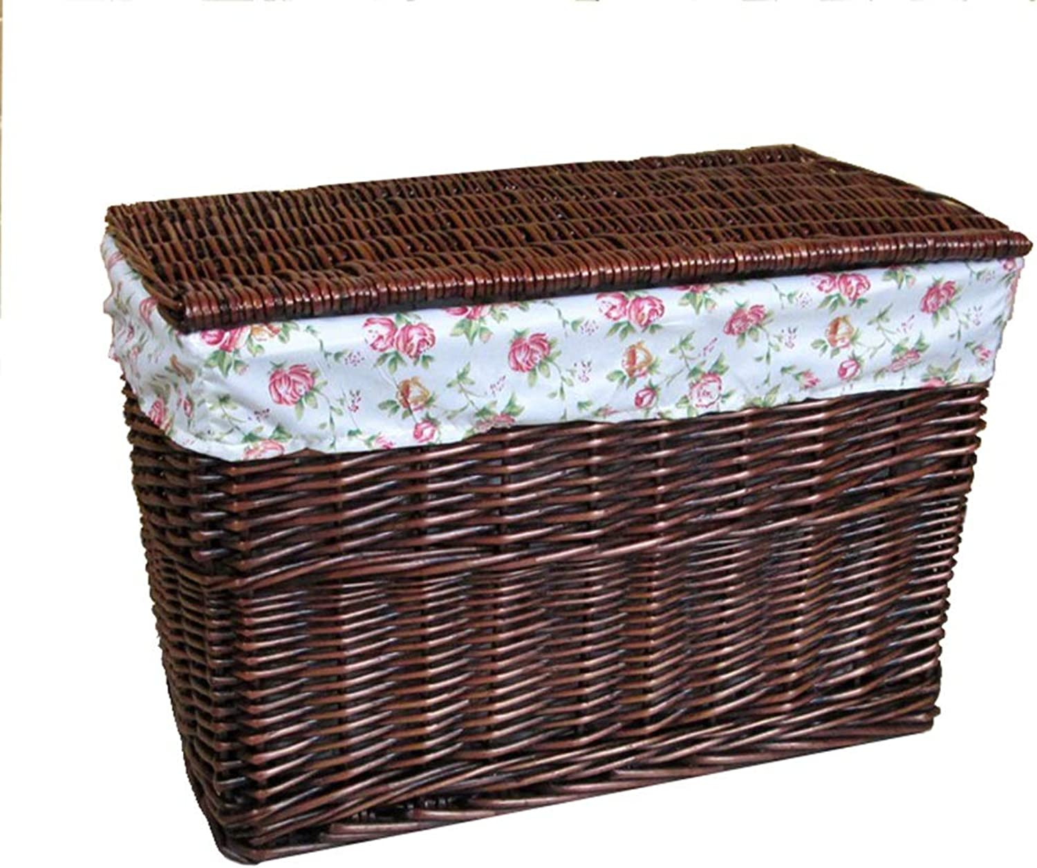 Laundry Hamper Storage Boxes Extra Large with Lid Rattan Storage Basket Clothes Storage Storage Box Rural Wind ZHANGQIANG (color   Brown-Flower, Size   60  40  40cm)