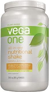 Vega One All-in-One Nutritional Shake Vanilla Chai (Tub, 30.8oz) - Plant Based Vegan Protein Powder, Non Dairy, Gluten Free, Non GMO