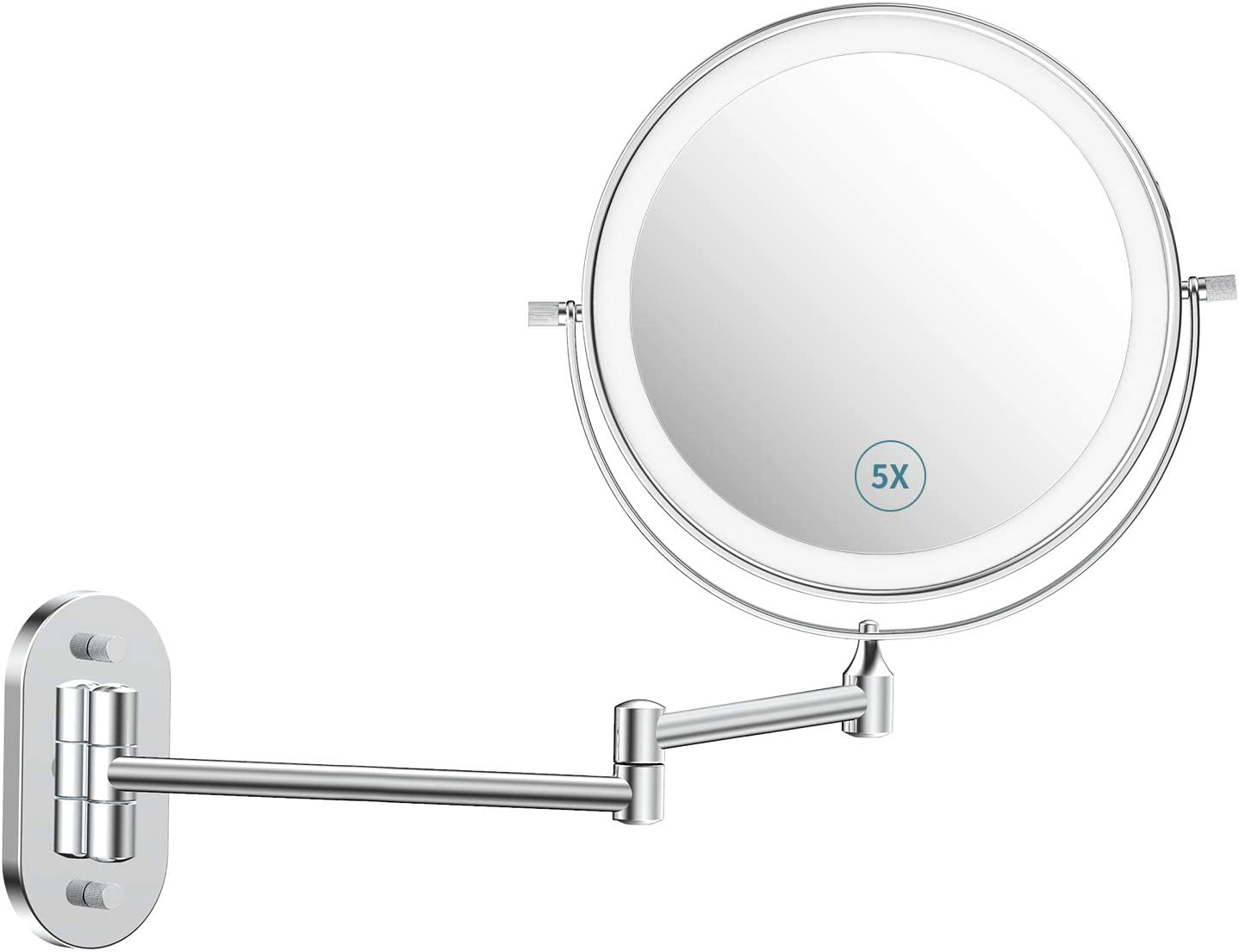 alvorog Wall Fort New arrival Worth Mall Mounted Makeup Mirror with 72 3 Rechargeable Color