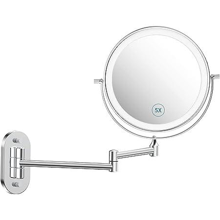 KKTICK LED Kosmetikspiegel Spiegel mit Beleuchtung LED Schminkspiegel mit 5X Vergr/ö/ßerung Touch Sensor Knopf Dimmfunktion USB Aufladbares und 90/° Schwenkbar f/ür Badezimmer Zuhause