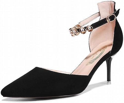 Fuxitoggo Fuxitoggo Dentelle avec des Chaussures Fines High Fashion chaussures Chaussures (Couleuré   Noir, Taille   35)  authentique