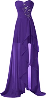Laceshe High Low Strapless Chiffon Bridesmaid Evening Dresses Prom Gowns Long