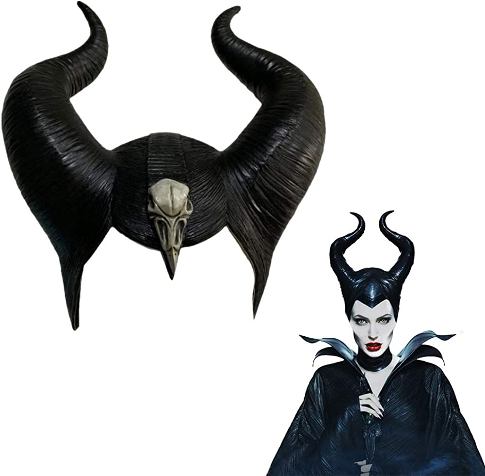 Maleficent Horns Headwear Cosplay Mistress of Evil Headgear Black Queen Props