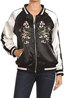 Reversible Satin Bomber Jacket with Floral Embroidery Black