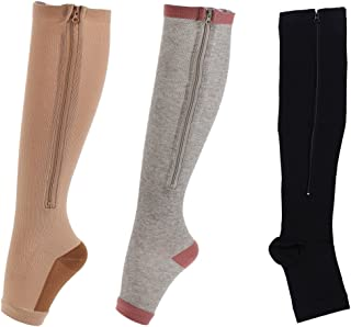 Easy On Zip compression Socks For Men Women With Toe Open Design Zipper Leg Support Knee-High Stockings-3Pair