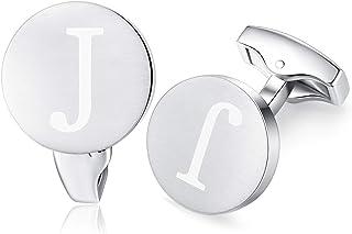 Carta Inicial Alfabeto Gemelos - Acero Inoxidable para la Camisa de los Hombres Regalo de Boda del Negocio,Plata cepillada