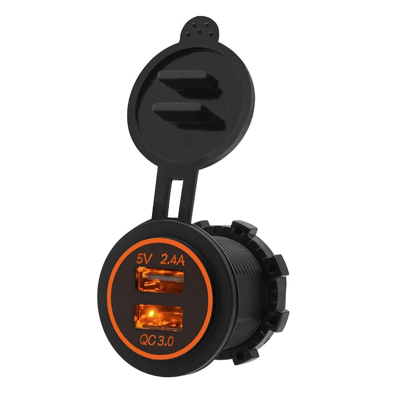 監督するインカ帝国そこNrpfell 高速充電3.0 USB充電器ソケットIP66防水デュアルUSB車の電源コンセント、QC 3.0 USBポート&2.4Aポート、LEDライト付き、カーボートマリンRvオートバイ用(オレンジ)