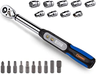 Summit Tools Mini Digital Torque Wrench (DPS3-085CN-S) with Socket Set, 3/8-in Driver, 2.2-62.7 ft-lbs, Peak Hold, LCD Display, Non Slip Grip, Bike Tool Set with Storage Case