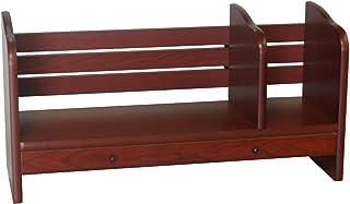 "Proman Products Renaissance Desktop Red Walnut Wood Book Rack Adjustable Drawer, 24"" W x 8"" D x 12"" H, Reddish"