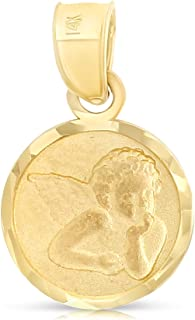 Ioka - 14K Yellow Gold Small Round Guardian Angel Cherub Religious Charm Pendant For Necklace or Chain