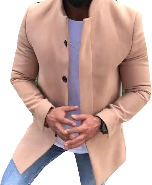 - LKCEN-CA Mens Slim Plain Single Breasted Lapel Wool Wool Wool Blend Pea Jacket Coat fc9ac0