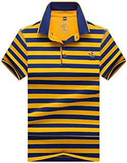 Men's Polo Shirt Cotton Short Sleeve Striped Causal Tshirt Athletic Tops for Golf Running Gold