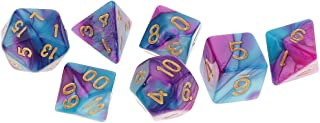 MagiDeal 7 Pieces Polyhedral Dice Set D20 D12 D10 D8 D6 D4 for Dungeons & Dragons RPG Board Game Party Supplies Purple Blue
