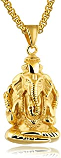 JAJAFOOK Stainless Steel Elephant Necklace, Indian Ganesha Good Luck Necklace, Golden/Silvery, 23.62¡¯¡¯