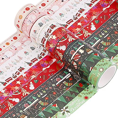Jodsen 10 Rouleaux Washi Masking Tape Adhésif Ruban Adhésif,15mm Ruban Washi Japonais Décoratif Esthétique Ruban Adhésif Décoratif Noël Ruban de Masquage Décoratif Rubans De Masquage Washi De Noël
