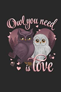 Owl You Need is Love: Funny Blank Lined Journal Notebook, 120 Pages, Soft Matte Cover, 6 x 9