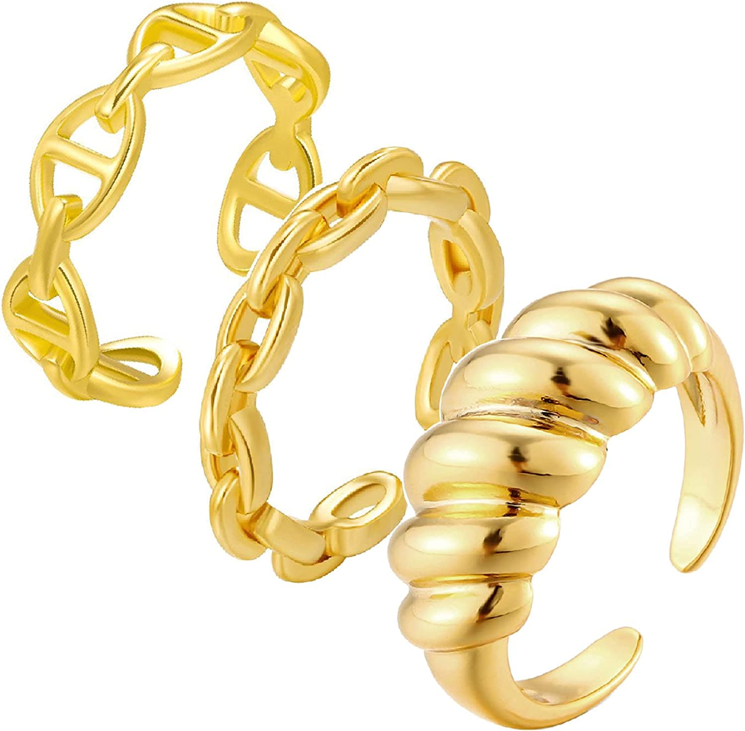3Pcs 18K Gold Plated Chain Link Braided Twisted Ring Simple Stacking Band Open Rings for Women Adjustable Stackable Thumb Open Rings Set