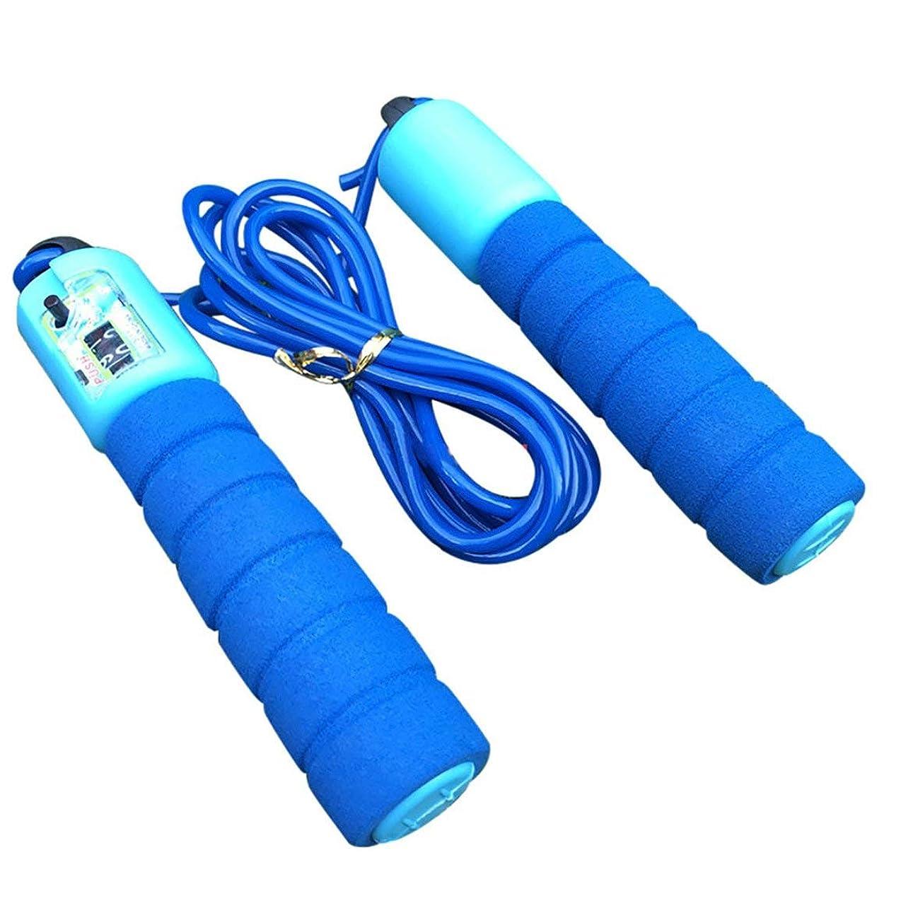 眉をひそめる独特のどのくらいの頻度で調整可能なプロフェッショナルカウント縄跳び自動カウントジャンプロープフィットネス運動高速カウントジャンプロープ - 青