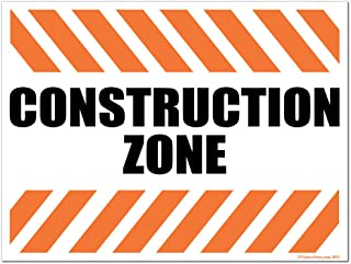 VictoryStore Yard Sign Outdoor Lawn Decorations: Construction Zone Plastic Sign, Size 12 inch x 18 inch