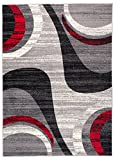 Carpeto Rugs Tapis Salon Gris 160 x 230 cm Moderne Vagues/Monaco Collection
