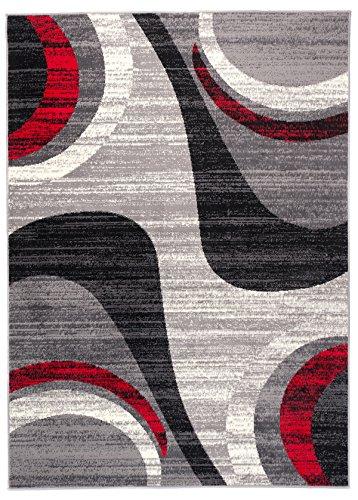 Carpeto Teppich Modern Wellen Abstrakt Muster Trend Meliert in Grau, Rot - ÖKO TEX (140 x 200 cm)
