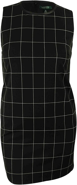 Lauren Ralph Lauren Leather Trim Sleeveless Checkered Dress Black