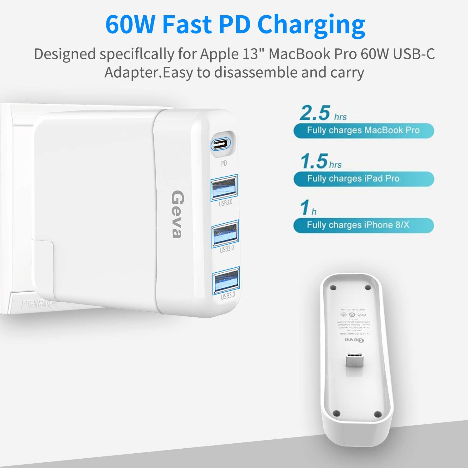 USB-C Charger Hub USB-C Wall Charger Converter for Mac Book Pro 2016/Mac Book Air 2018 and After Generation ,61W/30W Optional