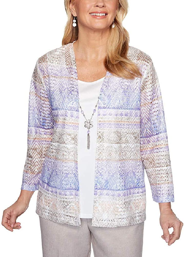 Alfred Dunner Women's 4 years warranty Long-awaited Two-for-one Biadere Top