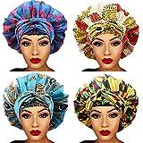 4 Packs Satin Bonnet for Women Silk Bonnet Sleep Cap African Print Head Scarf Head Wrap for Long Curly Natural Hair Braids Satin Bonnet Hat Large Soft Night Sleeping Cap Head Cover
