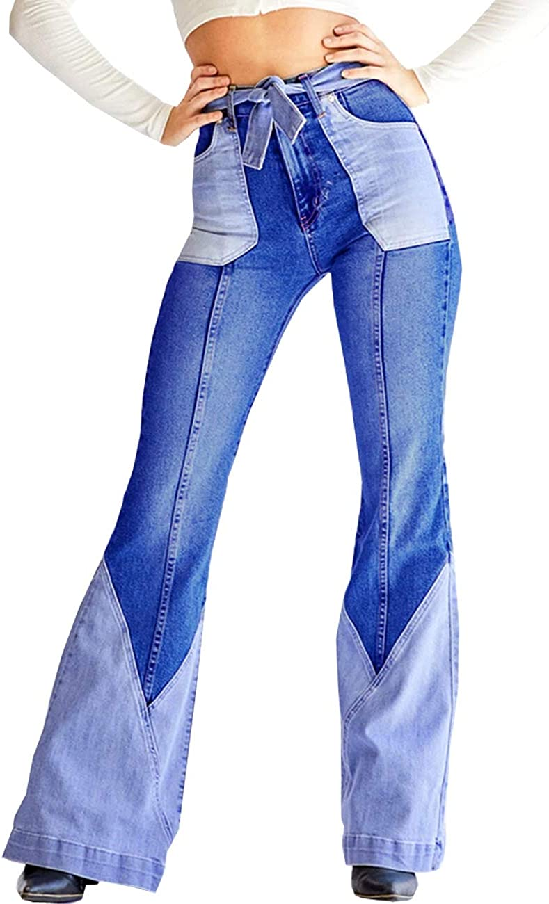 Yyibsones Women Patchwork Fixed price for sale Jeans Stretch Waist High Bottom R Bell 4 years warranty