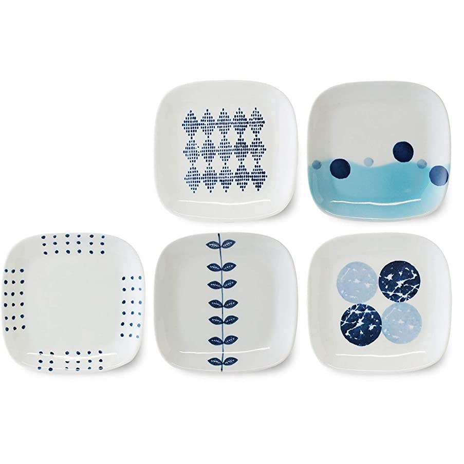 CtoCJAPAN Ceramic Plate Set (5pcs) 5.7 inch Premium Quality Porcelain Made in Japan No.915430