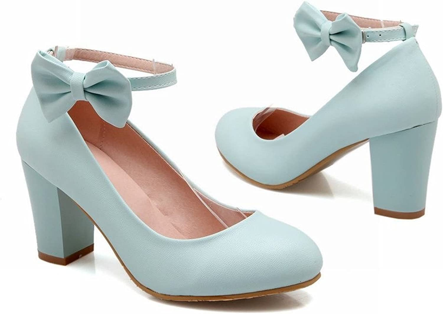 Tirahse Sweet Women's Buckle Bows Lolita Ankle Strap Chunky High Heel Dress Pumps Mary Janes shoes