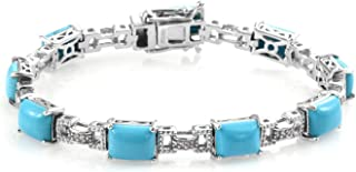 Tennis Bracelet 925 Sterling Silver Platinum Plated Sleeping Beauty Turquoise Zircon Jewelry for Women Size 6.5""