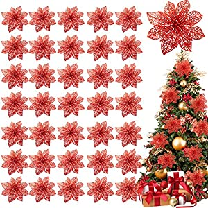 TURNMEON 36 Pack Christmas Flowers Decorations, Glitter Poinsettia Christmas Tree Ornaments, 4″ Artificial Silk Flowers Picks for Christmas Wreaths Garland Holiday Decoration (Rose)
