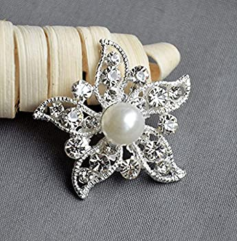 Your Perfect Gifts 10 Pieces Rhinestone Button Starfish Embellishment Pearl Crystal Wedding Brooch Bouquet Invitation Cake Decoration Hair Comb Pin BT448