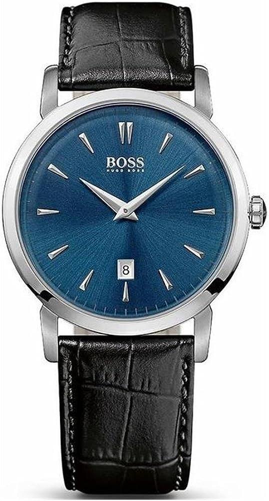 Boss 1513091 - Reloj de Cuarzo para Hombre, Correa de Cuero Color Negro