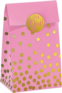 Amscan 380093 Baby Shower Foil Stamped Bags w/Stickers, Pink