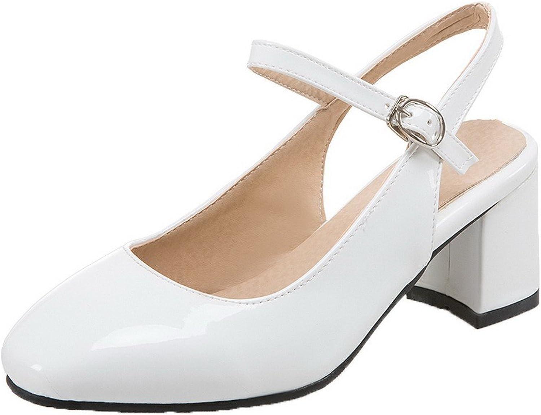 AllhqFashion Women's Kitten-Heels Buckle Patent Leather Square Toe Pumps-shoes