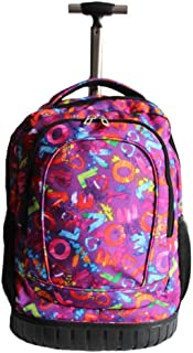 GLJJQMY Travel Bag Backpack Business Travel Print Wear Wheeled Trolley Backpack Student Bag Trolley Backpack (Color : Pink, Size : 48x20x30cm)