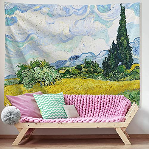 BPDD Van Gogh Tapiz Campo de Trigo con cipreses Pintura al óleo Colgante de Pared Floral Naturaleza Planta Tapices Arte de la Pared Decoración del hogar para Dormitorio Dormitorio Sala de Estar