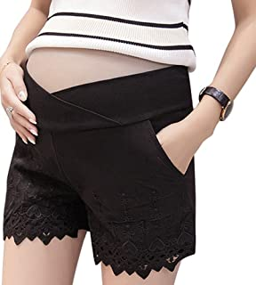 86ecf96e9d6b Foucome Maternity Shorts Cotton Lounge Underbelly Pregnancy Shorts Summer  Lace Stitching Pants