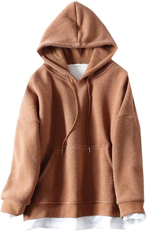 Winme Womens Drawstring Fake Two Hooded Loose Hoodies Tees Sweatshirt