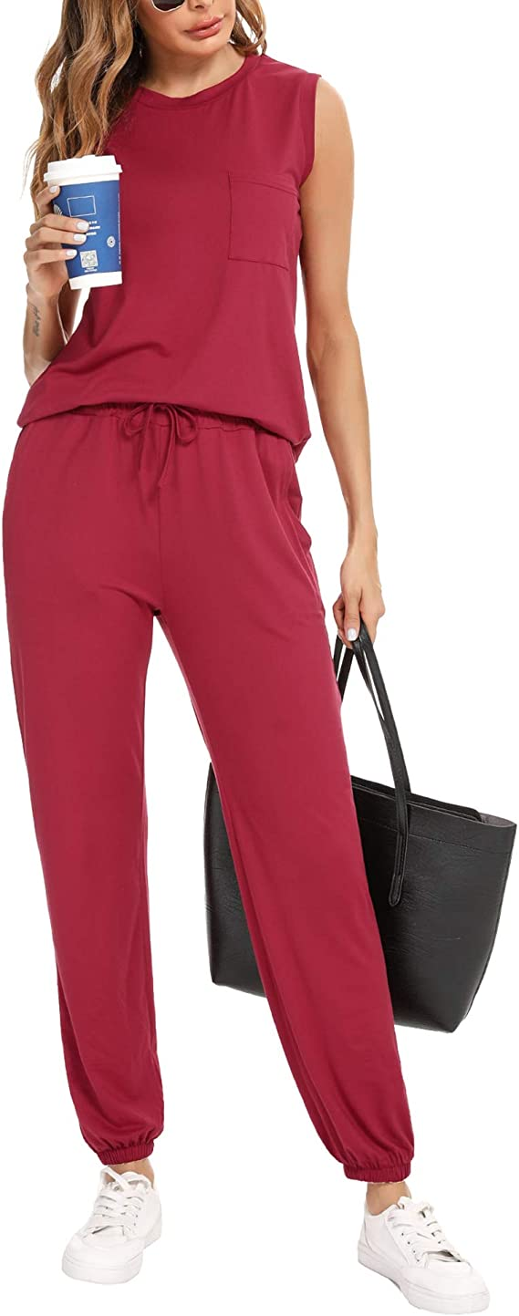 Irevial Womens 2 Piece Outfit Sleeveless Tops and Long Pants Summer Pajamas Lounge Sets with Pockets