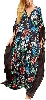 LONGDAY Women Cotton Casual Loose Kimono Cover Up Summer Beach Dress Long Maxi Swimsuit Turkish Ethnic Print Kaftan